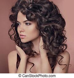 健康, hair., 巻き毛, hairstyle., ブルネット, 女の子, model., 美しい, 若い女性, ∥で∥, 長い間, ブラウン, hairs., かなり, 女性, ポーズを取る, ∥において∥, studio.