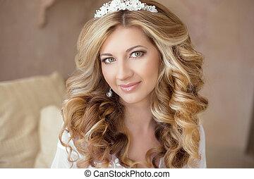 健康, hair., 結婚式, makeup., 美しい, 微笑の女の子, 花嫁, ∥で∥, 長い間, ブロンド,...