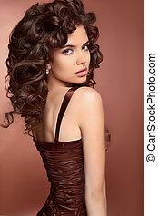 健康, hair., 美しい, ブルネット, 若い女性, ∥で∥, 長い間, 巻き毛, 毛