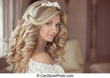 健康, hair., 美しい, 微笑の女の子, 花嫁, ∥で∥, 長い間, ブロンド, 巻き毛, ヘアスタイル, そして, bridal, makeup., 結婚式, 屋内, portrait.