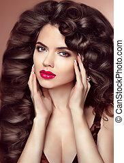 健康, hair., makeup., 美しい, ブルネット, 女の子, ∥で∥, 長い間, 波状, ヘアスタイル