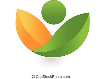 健康, leafs, ロゴ, 緑, 自然
