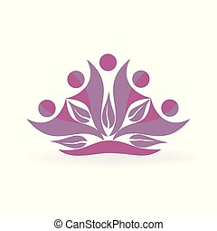 健康, leafs, 人々, ロゴ