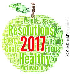 健康, resolutions, 単語, 2017, 雲