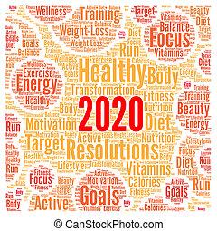 健康, resolutions, 雲, 2020, 単語