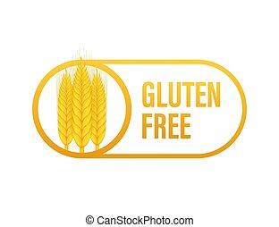 健康, stickers., labels., vegan, free., 株, product., gluten, 農場, illustration., 食物, ベクトル