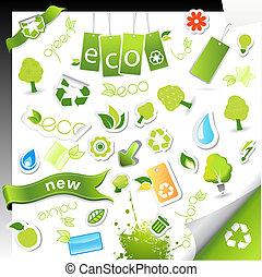 健康, symbols., セット, エコロジー, bio