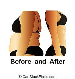 健身, 以前, 身體, yoga., 婦女的, 以後