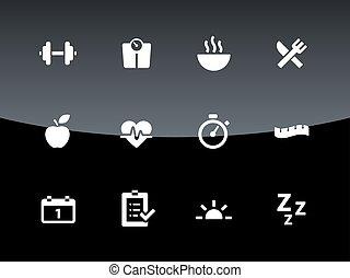 健身, 圖象, 上, 黑色, 背景。