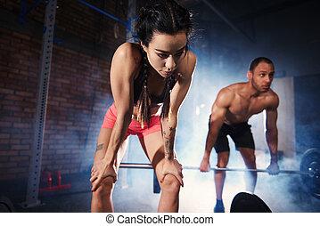 健身, 夫婦, 訓練, 由于, 杠鈴