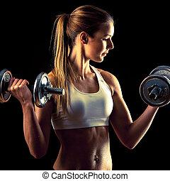 健身, 女孩, -, 有吸引力, 年輕婦女, 解決, 由于, dumbbells