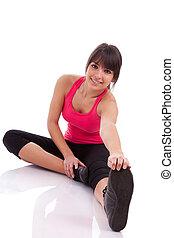 健身, 婦女伸展, 她, 腿, 到, 變暖向上