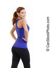 健身, 婦女肖像, 被隔离, 在懷特上, 背景