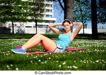 健身, 婦女, 上, 向上坐, 測驗
