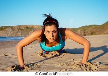 健身, 婦女, 做, 推, 向上, 測驗