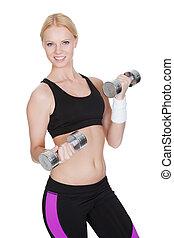 健身, 婦女, 做, 重量訓練
