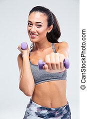 健身, 婦女, 測驗, 由于, dumbbells