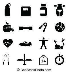 健身, 放置, 饮食, 图标