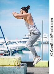 健身, 運動員, 做, 跳躍, 蹲, 上, 權宜之計, plyo-box, 上, 夏天, 海, 碼頭