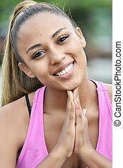 健身, 青少年的 女孩, 在, 禱告