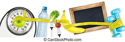 健身, 飲食, 動机, 全景, 概念