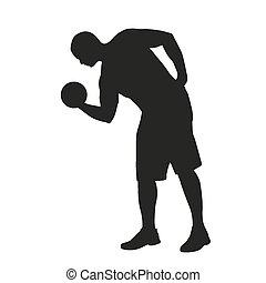 健身, dumbbell, 人, silhouette.