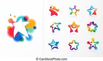 健身, logos., 矢量, 設計, 星, 學習, 運動, 圖象, 優秀