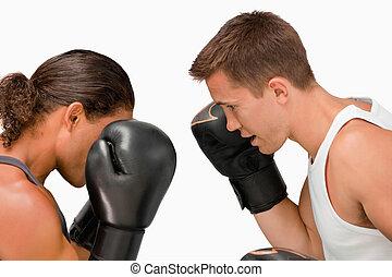 側視圖, ......的, 二, 拳擊手