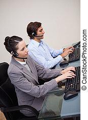 側視圖, ......的, 呼叫中心, 代理人, 正在工作