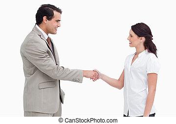 側視圖, ......的, 售貨員, 握手