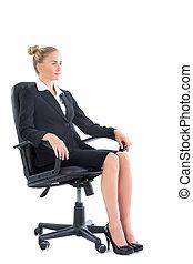 側視圖, ......的, 嚴肅, 從事工商業的女性, 坐, 上, an, 辦公室椅子