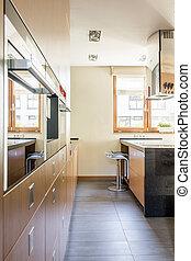 側視圖, ......的, 寬闊, 廚房