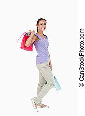 側視圖, ......的, 年輕, 女性, 由于, 購物