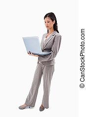 側視圖, ......的, 從事工商業的女性站, 由于, 筆記本