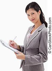 側視圖, ......的, 從事工商業的女性記筆記