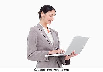 側視圖, ......的, 從事工商業的女性, 使用便攜式計算机