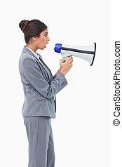 側視圖, ......的, 從事工商業的女性, 使用, 擴音器