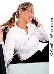 側視圖, ......的, 從事工商業的女性, 在電話上的談話