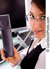 側視圖, ......的, 從事工商業的女性, 拿住電話, 電話听筒