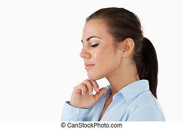 側視圖, ......的, 從事工商業的女性, 由于, 眼睛關閉