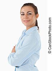 側視圖, ......的, 從事工商業的女性, 由于, 雙臂 被交叉