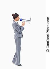 側視圖, ......的, 從事工商業的女性, 談話, 透過, 擴音器