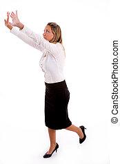 側視圖, ......的, 從事工商業的女性, 顯示, 指引, 姿態