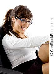 側視圖, ......的, 微笑的婦女, 坐在椅子上