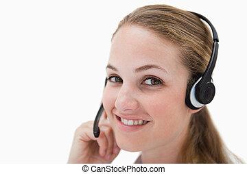 側視圖, ......的, 微笑, 呼叫中心, 代理, 由于, 耳機