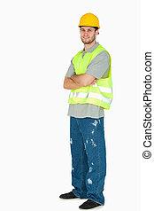 側視圖, ......的, 微笑, 年輕, 建設工人, 由于, 雙臂 被交叉