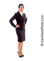 側視圖, ......的, 微笑, 年輕, 從事工商業的女性