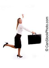 側視圖, ......的, 微笑, 從事工商業的女性, 跑, 由于, 公文包