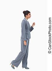 側視圖, ......的, 步行, 從事工商業的女性