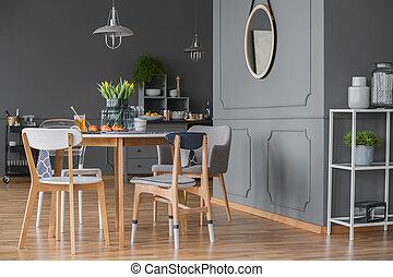 側視圖, ......的, 灰色, 廚房